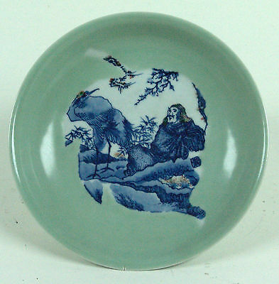 Chinese Blue and White Celadon Decorated Dish