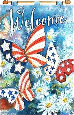 """Design Works Jeweled Beads Kit 16"""" x 24"""" Banner ~ WELCOME BUTTERFLIES #4232 Sale"""