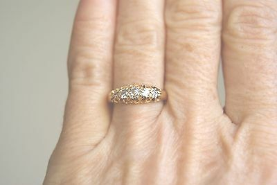 Antique Victorian18 Ct Yellow Gold Five Stone Old Cut Diamond Ring O.50 Ct (N)