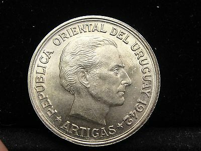 1942 So Uruguay 1 Peso Silver Coin Looks AU Km #30