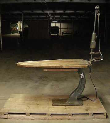 American Vintage Industrial Ironing Board w/ Cast Iron Base, Power, & Red Light