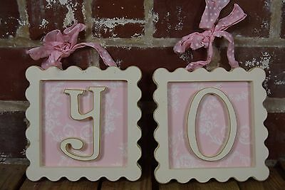 Lot of 2 Nursery Decor Framed Letters: Y and O