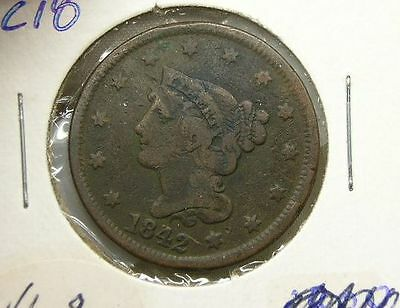 US 1842 Large Cent VG  (lc18)