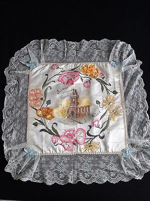 Embroidered Pillow slip, silk, WW1, France Albert