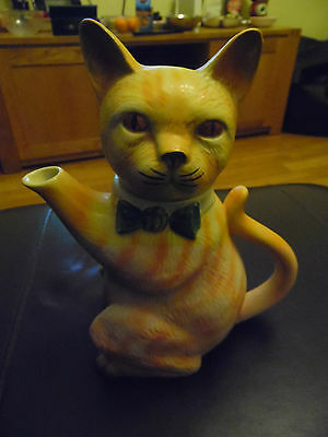 Tony Wood Pussyfoot Teapot, Ginger Cat With Green Bow Tie And Brown Eyes
