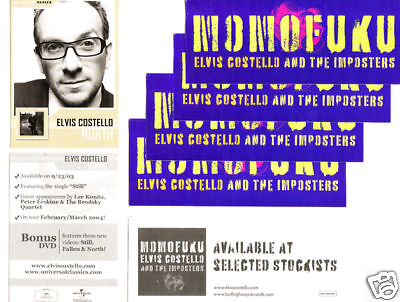 ELVIS COSTELLO Momofuku 3 PROMO STICKERS+TRADING CARD for cd MINT!