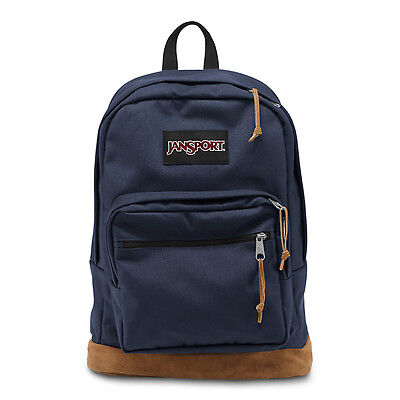 """Jansport """"Right Pack"""" Backpack Suede School Book Bag Laptop Authentic Navy"""