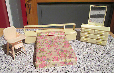 vintage* RETRO MOD DOUBLE BEDROOM FURNITURE - possibly Flairline - 12th scale