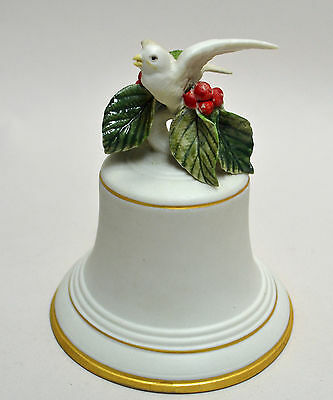 """CYBIS PORCELAIN, 1987, """"Christmas Bell with Dove of Peace and Holly """" Porcelain"""