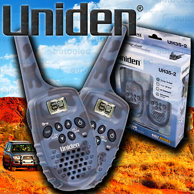 Uniden Small Handheld Twin Pack Uhf Two Way Compact Radios Walkie Cb 80Ch Uh35-2