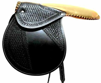 D.A. Brand Fancy Black Leather Racing Exercise Saddle Horse Tack Equine