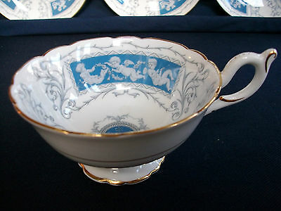 COALPORT REVELRY- BLUE SCALLOPED (c.1962+)  CUP(s) ONLY- EXCELLENT! MINT! GILT!