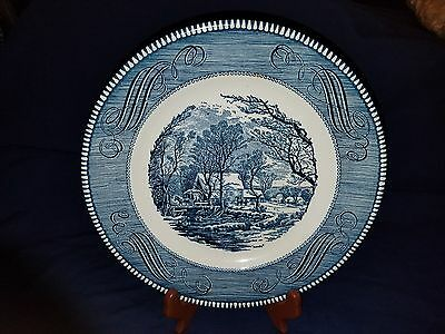 "Royal China Currier & Ives The Old Grist Mill 10"" Blue White Dinner Plate"