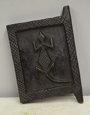 Mali Dogon African Carved Lizard Granary Wood Door