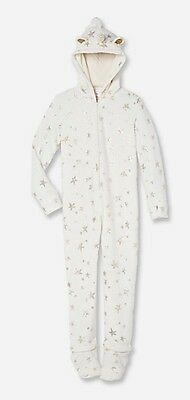 Justice Girls Hooded Unicorn Pajamas Onesie Size 8- Detachable Feet NWT