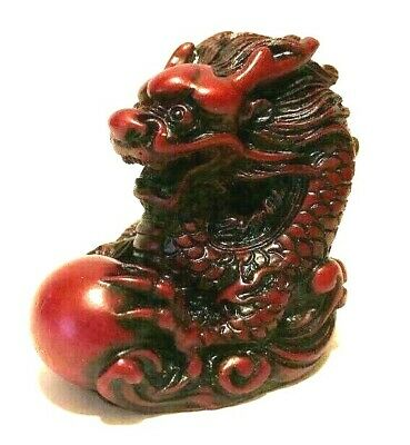 NEW mini RED Chinese Feng Shui Dragon Figurine Statue for Luck & Success