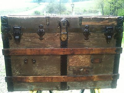 Antique Wood & Canvas Flat Top Steamer Trunk with Travel Badges