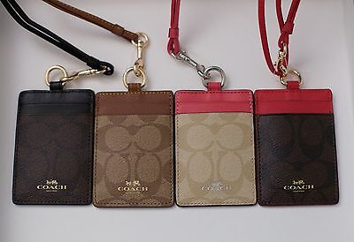 Coach Signature PVC Lanyard ID Badge Holders 63274 NEW Pink/Brown/Khaki/Black