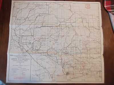 Vintage 1953 Arroyo Seco District Map Angeles National Forest