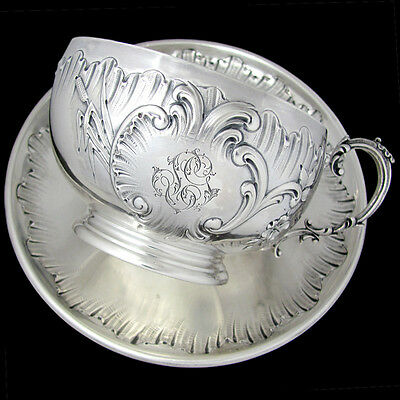 Antique French Sterling Silver Repousse Chocolate Tea Coffee Cup & Saucer, 309g