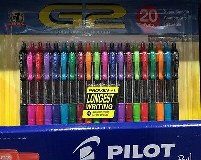 Pilot G2 Retractable Premium Color Gel Ink Roller Ball Pen Fine Point 20 pack #1