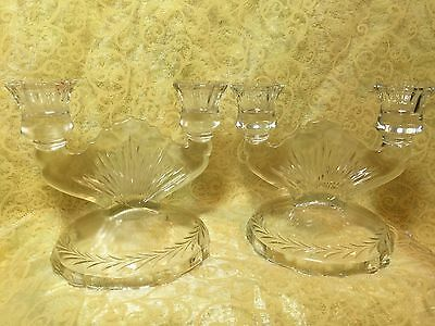VINTAGE ART DECO DOUBLE SUNBURST CRYSTAL CANDELABRA - Set of 2