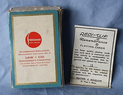 STUDEBAKER Car Truck UAW-CIO Employees Playing Cards SOUTH BEND INDIANA