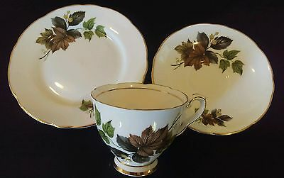 Royal Stafford England Lovely Vintage Gilt Trio - Ivy - Great Cond