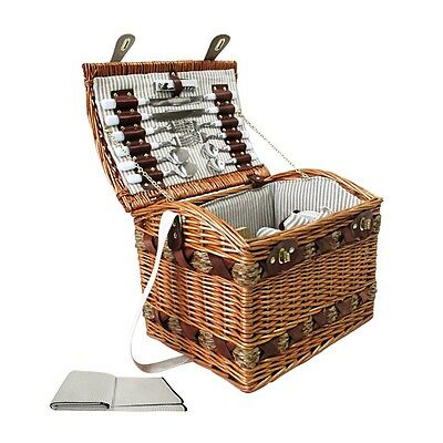 NEW 4 Person Outdoor Camping Picnic Brown Basket Set with Cheese Board, Blanket