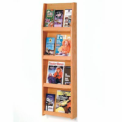 Literature Display Magazine Rack Oak Wood Wall Mount Pamphlet Rack Option Stand