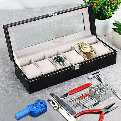 6 Grids Leather Watch Display Case Box  With 16 Pieces Watch Repair Kit Set AU
