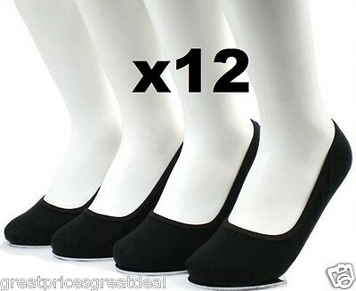 12 Pairs Women's BLACK Hidden Foot No Show Liner Socks Peds Boat Solid Cotton #A