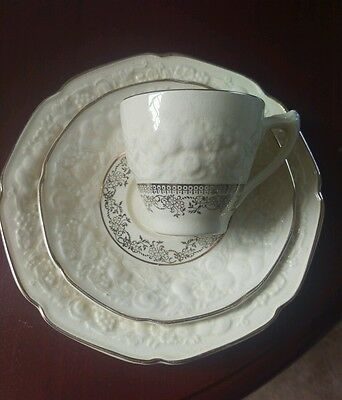 Crown Ducal. Florentine. Small Vintage Trio: Cup, Saucer, and Plate.