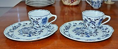 Lot 2 BLUE DANUBE Japan SNACK SETS Plate and Cup Blue Onion Pattern EXCELLENT!