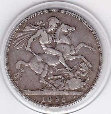 1896   Queen Victoria Large Crown / Five Shilling Coin  from Great Britain