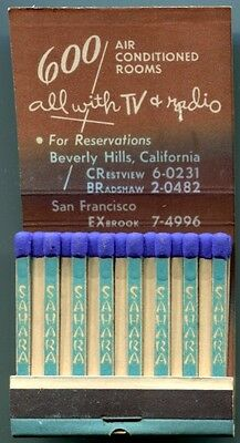 Las Vegas Nv SAHARA Casino FEATURE Matchbook Matches 1950s