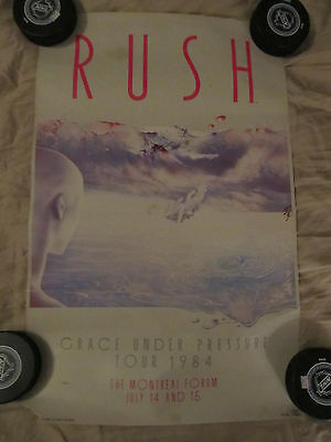 Rush Grace Under Pressure Poster 1984 P/g Montreal Forum 7/14 7/15 Vintage Rare