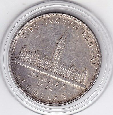 1939   Canada  Large  Silver  Dollar   King  George  VI  Coin