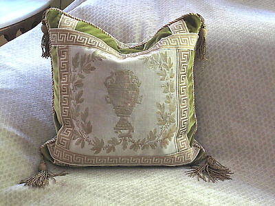 Elegant Authentic Antique 19Th Century French Aubusson Urn Tapestry Pillow