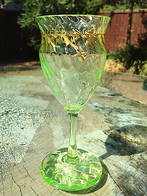 Must See Emile Galle Chrystal Uranium Green Glowing Wine Glass
