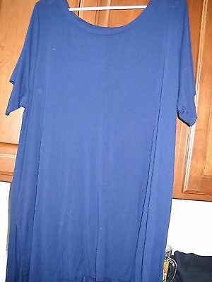 Tunic - Women's Short Sleeve - Round Neck - Navy Blue- Plus 2X