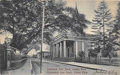 SAN JOSE, COSTA RICA ~ CATHEDRAL & STREET SCENE ~ dated 1913