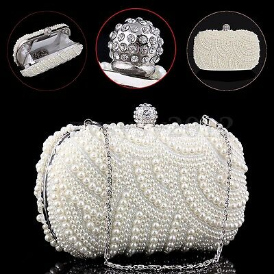 UK Ladies Ivory Pearl Party Prom Bridal Wedding Evening Clutch Bag Purse Handbag