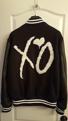 The Weeknd Official XO Roots Varsity Jacket - Rare Black Wool Leather - Large