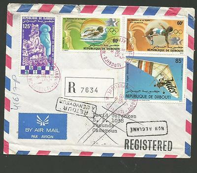 1985 Djibouti Registered Cover To Cameroun Not Called For Returned To Sender