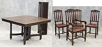 19th C Antique Victorian Oak Dining Set Square Table 6 Leaves 4 Chairs Armchair