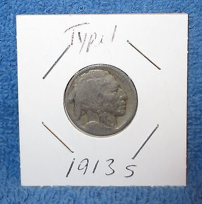 1913-S Type 1 no date Buffalo nickel. Additional items ship free!