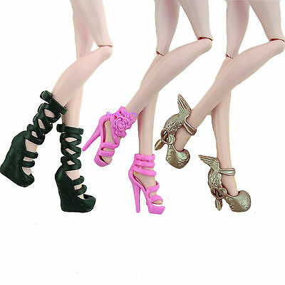 """3 Boots High Heel Shoes Sandals Dress Clothes Access For Monster High 10"""" Doll"""