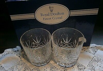 2 Royal Doulton Crystal Rummer /Whiskey Glasses Monique Pattern