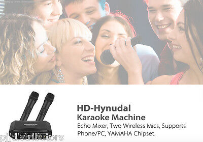 HD Hynudai Karaoke Machine - Echo Mixer, Two Wireless Mics, YAMAHA Chipset NEW